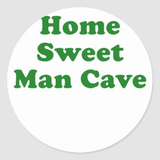 Home Sweet Man Cave Classic Round Sticker