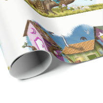 Home Sweet Tiny Tree Houses Wrapping Paper