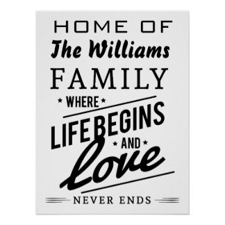 Home The Williams Family Member Vintage Typography Poster