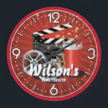 "Home Theater Cinema Personalizable Wall Clock<br><div class=""desc"">A unique personalizable home theater or cinema decorative wall clock.