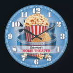 """Home Theater Cinema Personalizable Wall Clock<br><div class=""""desc"""">A unique personalizable retro-style home theater or cinema decorative wall clock. A great addition to any home. Also makes a great gift idea.</div>"""