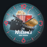 """Home Theater Cinema Personalizable Wall Clock<br><div class=""""desc"""">A unique personalizable home theater or cinema decorative wall clock. A great addition to any home. Also makes a great gift idea.</div>"""