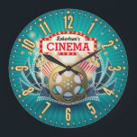 "Home Theater Cinema Personalizable Wall Clock<br><div class=""desc"">A unique personalizable retro-style home theater or cinema decorative wall clock.