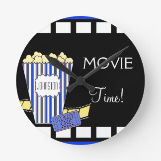 Home Theater Popcorn Box Blue Round Clock