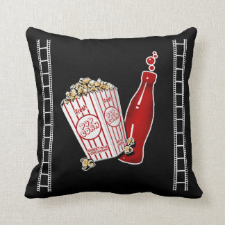 Home Theater Throw Pillow with Popcorn