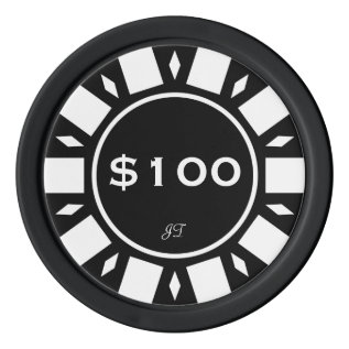 Home Tournament Poker Chips Black $100 Your Brand at Zazzle