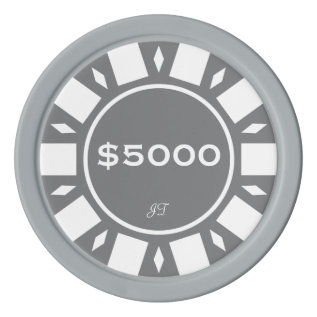 Home Tournament Poker Chips Grey $5000 Your Brand at Zazzle