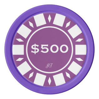 Home Tournament Poker Chips Purple $500 Your Brand at Zazzle