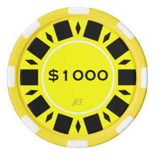 Home Tournament Poker Yellow $1000 W/ Your Brand Set Of Poker Chips at Zazzle