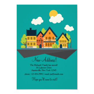 """Home Town Moving Announcement 5"""" X 7"""" Invitation Card"""