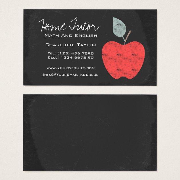 Home Tutor Teacher Apple Chalkboard Business Card | Zazzle