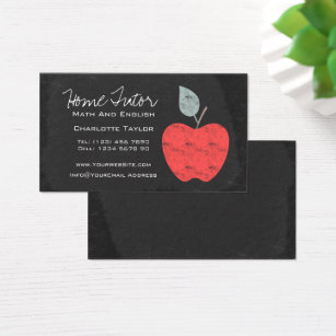 Teacher business cards templates zazzle home tutor teacher apple chalkboard business card wajeb Images