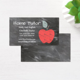 Tutoring business cards templates zazzle home tutor teacher apple scrubbed chalkboard v2 business card colourmoves Choice Image
