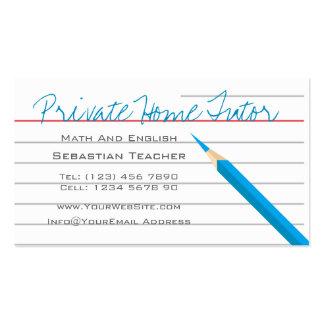 Home Tutor Teacher Pencil Business Card