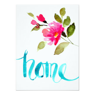 Home- watercolor letter art card