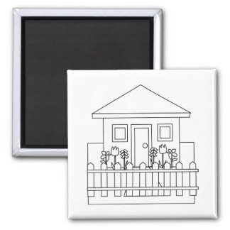 Home with Fence 2 Inch Square Magnet