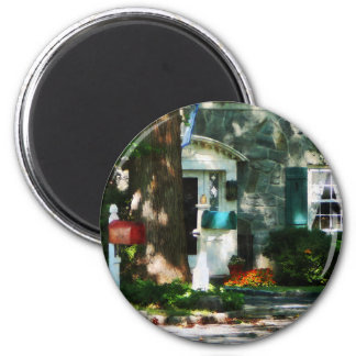 Home With Turquoise Shutters 2 Inch Round Magnet
