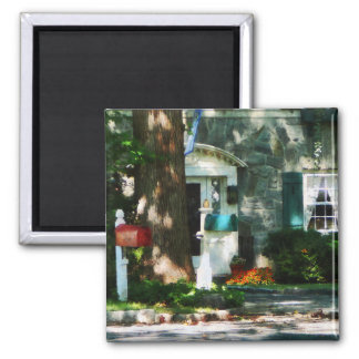 Home With Turquoise Shutters 2 Inch Square Magnet