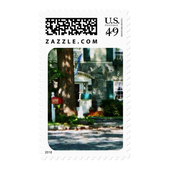 Home With Turquoise Shutters Postage