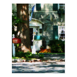 Home With Turquoise Shutters Post Cards