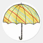 Homeberries Stripy Umbrella Classic Round Sticker