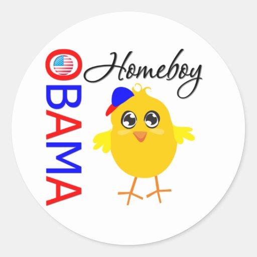 Homeboy de Obama Etiqueta Redonda