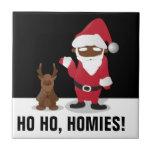 Homeboys de las Felices Navidad: Santa negro y Bli Azulejo Cerámica
