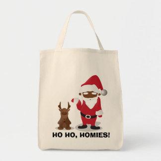 Homeboys de las Felices Navidad: Santa negro y Bli Bolsa Tela Para La Compra