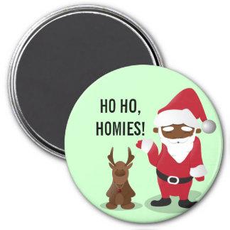 Homeboys de las Felices Navidad: Santa negro y Bli Imán Redondo 7 Cm