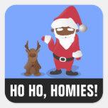 Homeboys de las Felices Navidad: Santa negro y Pegatina Cuadrada