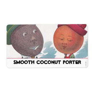 Homebrew Fun Anthropomorphic Coconut Porter Label Shipping Label