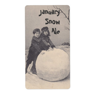 Homebrew label Antique Snow Play snowman January