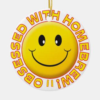 Homebrew Obsessed Smiley Round Ceramic Decoration