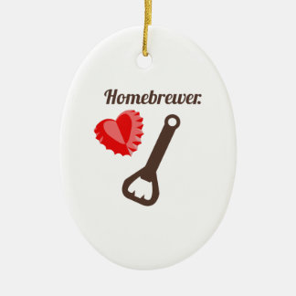 Homebrewer Double-Sided Oval Ceramic Christmas Ornament