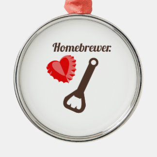 Homebrewer Round Metal Christmas Ornament