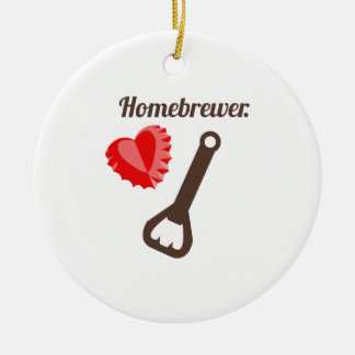 Homebrewer Double-Sided Ceramic Round Christmas Ornament