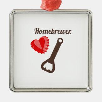 Homebrewer Square Metal Christmas Ornament