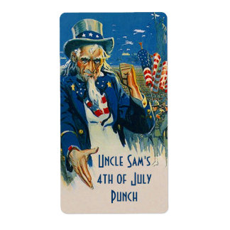 Homebrewing Beer Bottle Label Uncle Sam 4th July