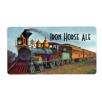 Homebrewing Beer Label Iron Horse Train Locomotive