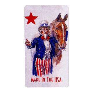 Homebrewing Beer Label Uncle Sam Horse Made in USA Shipping Label