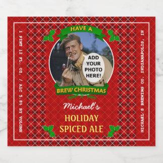 Homebrewing Brew Christmas Red Argyle Custom Photo Beer Bottle Label