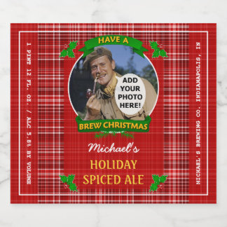 Homebrewing Brew Christmas Red Plaid Custom Photo Beer Bottle Label
