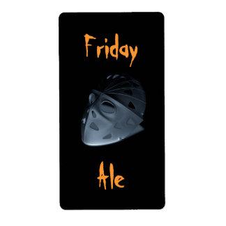 Homebrewing Friday Ale Hockey Mask Halloween Label
