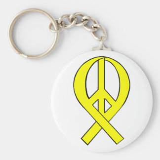 Homecoming Yellow Peace Ribbon Key Chains