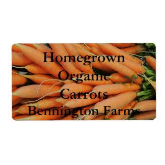 Homegrown Organic Carrots Custom Label