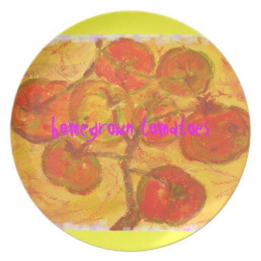 homegrown tomatoes art dinner plate
