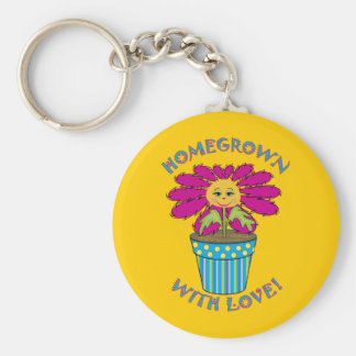 Homegrown with Love Basic Round Button Keychain