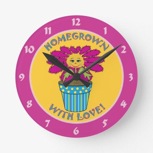Homegrown with Love Round Wall Clocks
