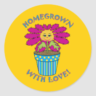 Homegrown with Love Classic Round Sticker