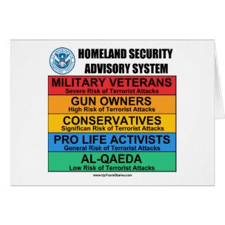 Homeland Security Advisory Card